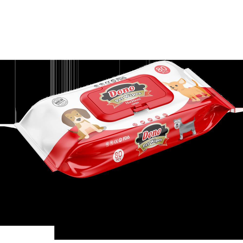 ПэтСофт Влажные салфетки Dono Pet Wipes для очистки лап и шерсти животных, 80 шт, Pet Soft