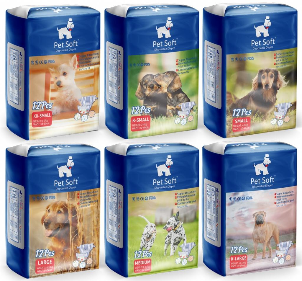 ПэтСофт Подгузники для домашних животных Diaper для собак, в ассортименте, 12 штук, Pet Soft