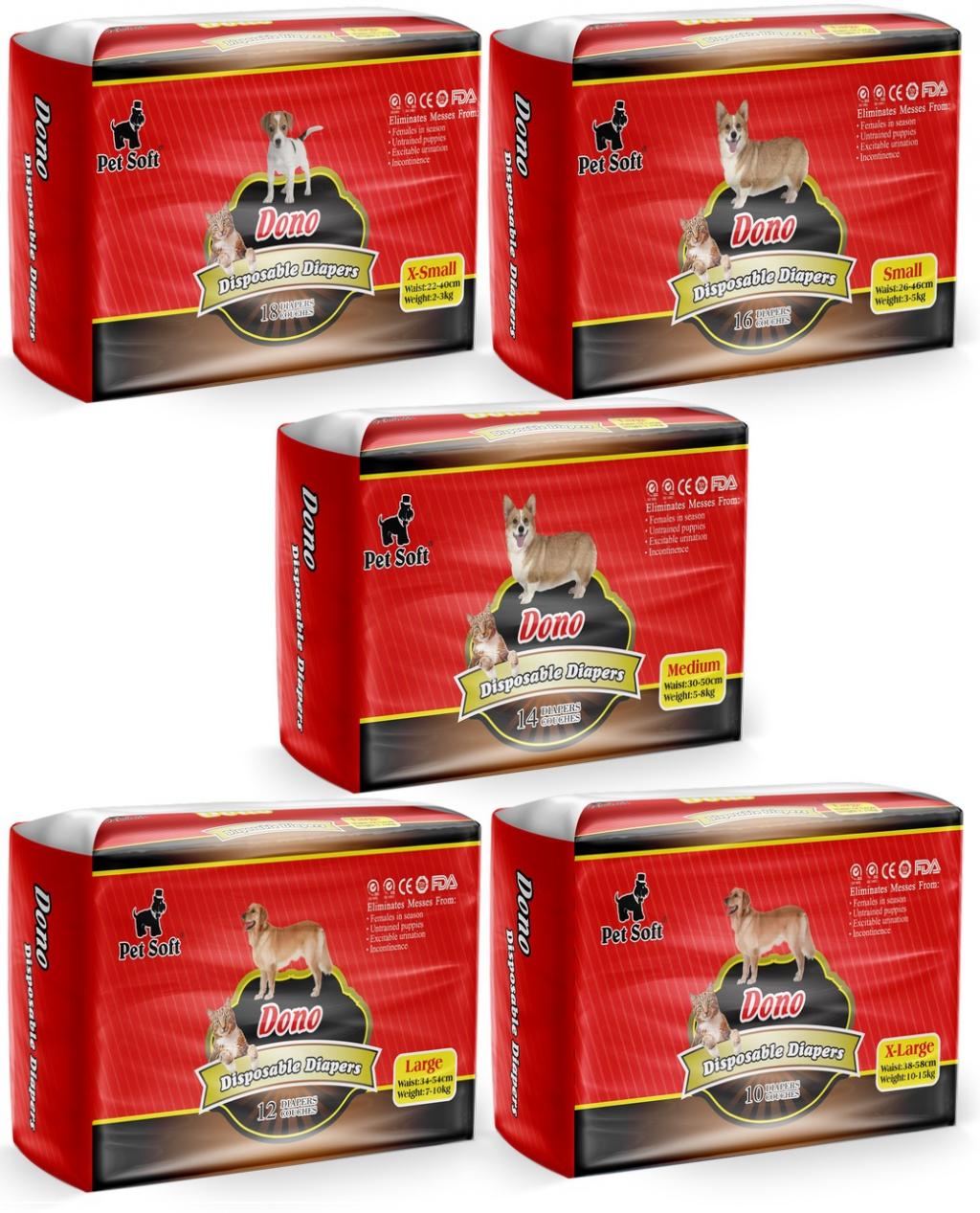 ПэтСофт Подгузники для домашних животных Dono Pet Diapers для собак, в ассортименте, Pet Soft