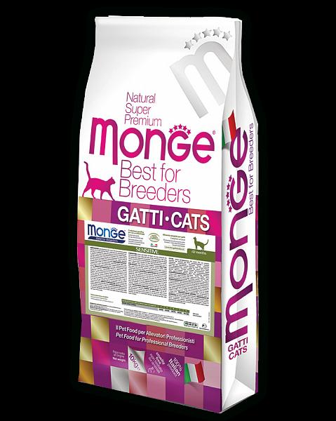 Монже Корм Cat Sensitive для кошек с чувствительным пищеварением, 10 кг, Monge