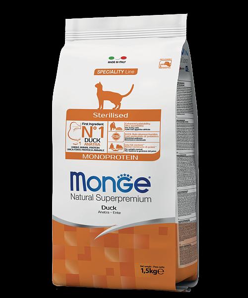 Монже Корм  Cat Monoprotein Sterilised Duck для стерилизованных кошек, Утка, в ассортименте, Monge