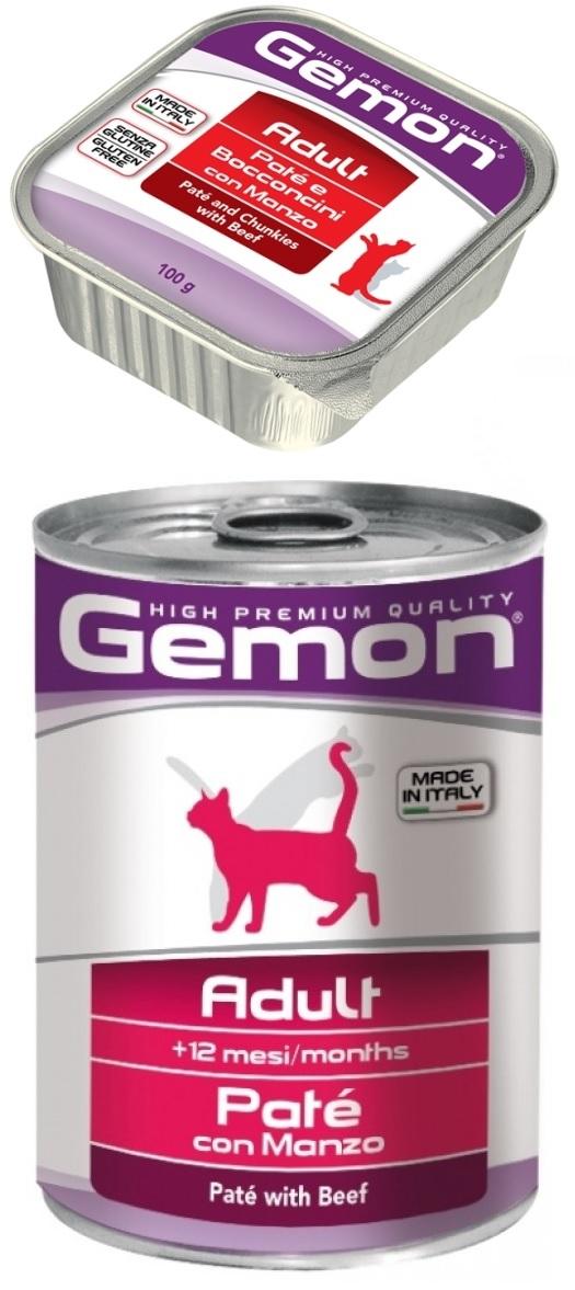 Джемон Консервы Cat Adult паштет для кошек, Говядина, в ассортименте, Gemon
