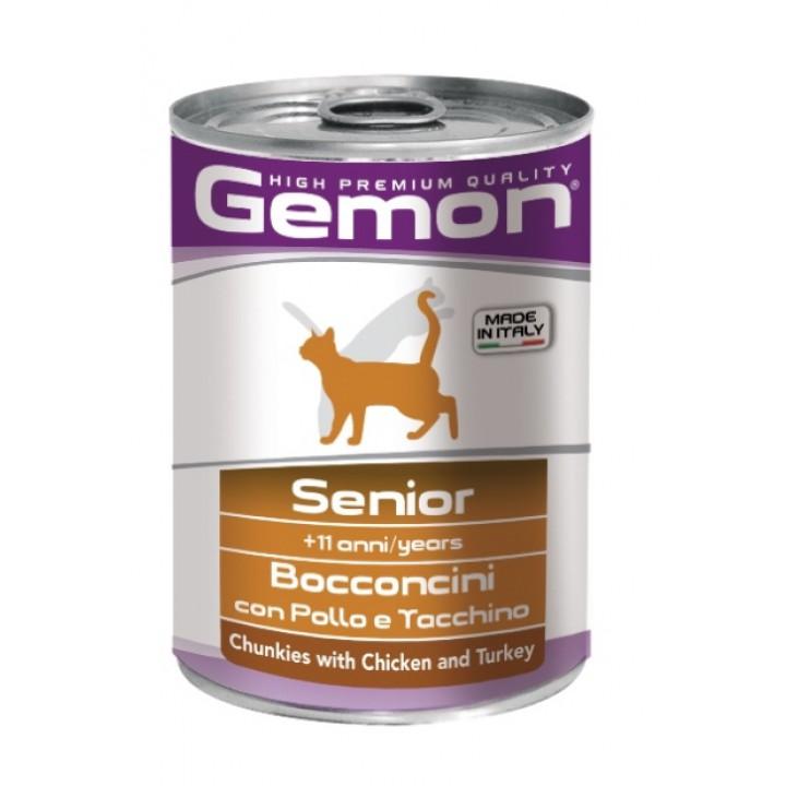 Джемон Консервы Cat Senior для пожилых кошек, Курица/Индейка, 415 г, Gemon