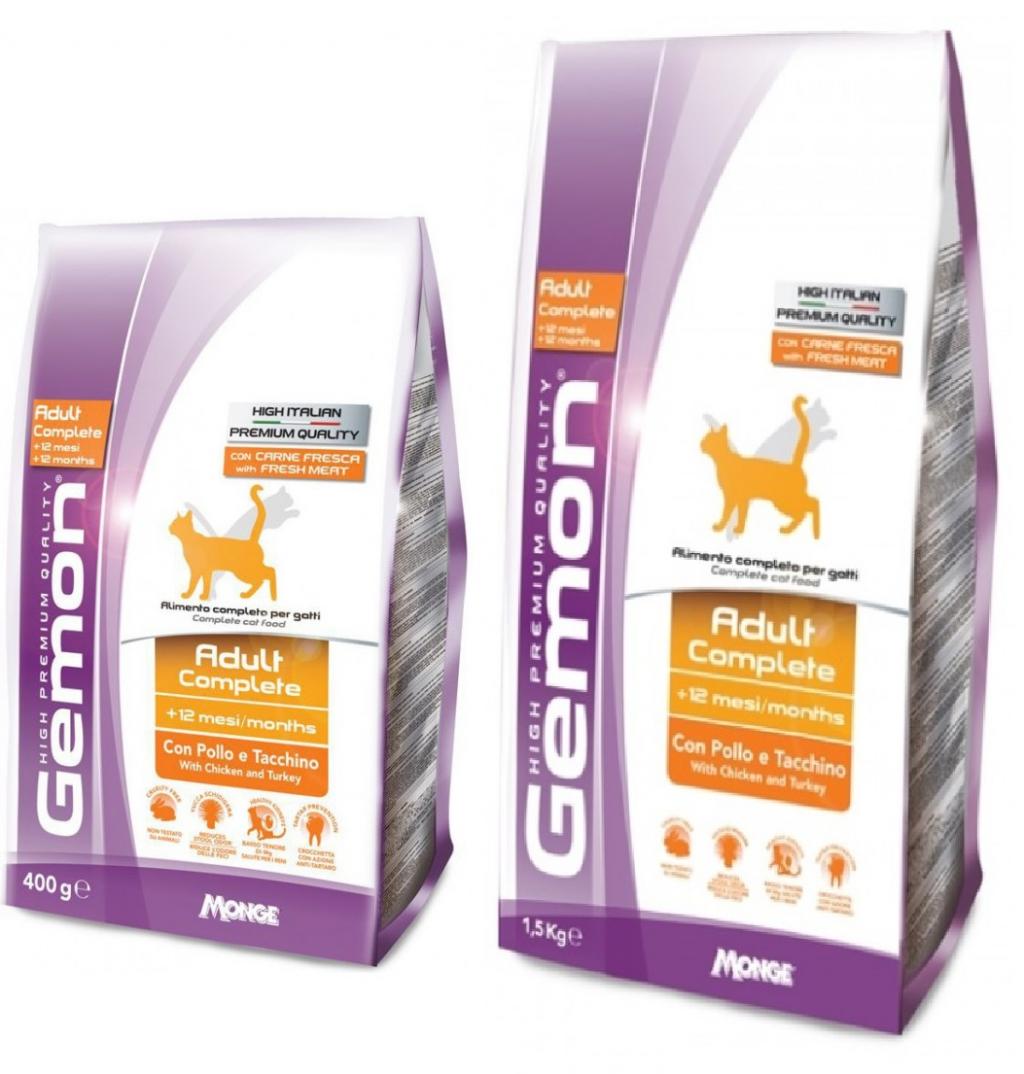 Джемон Корм сухой Cat Adult Complete для кошек, Курица/Индейка, в ассортименте, Gemon