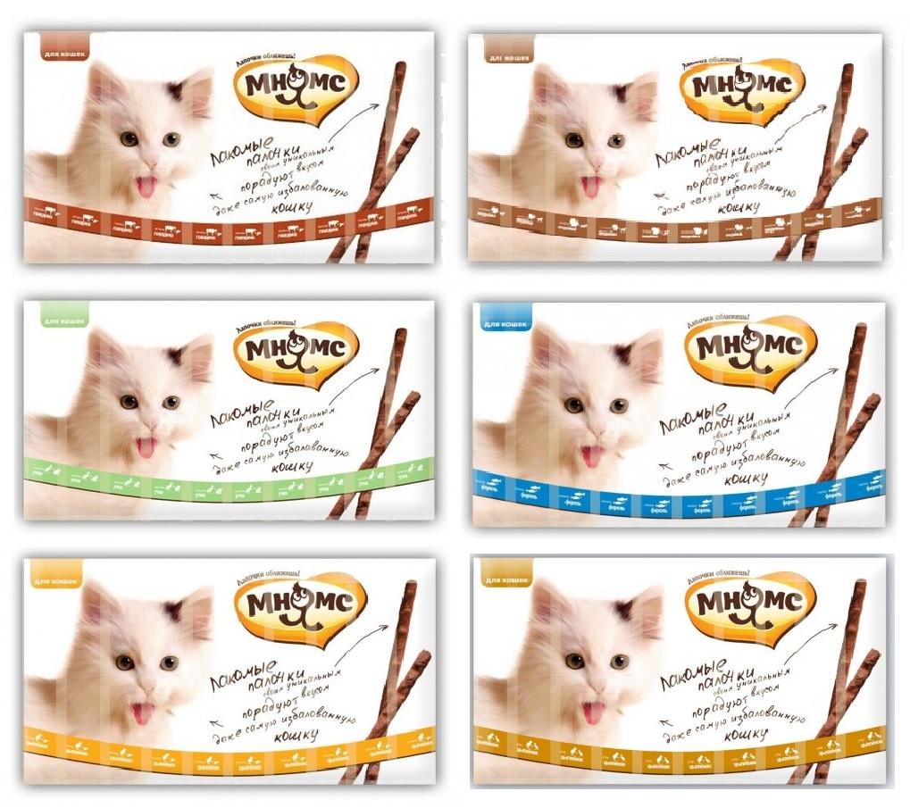 Мнямс Деликатес Лакомые палочки для кошек, в ассортименте, 13,5 см, 10 шт/уп