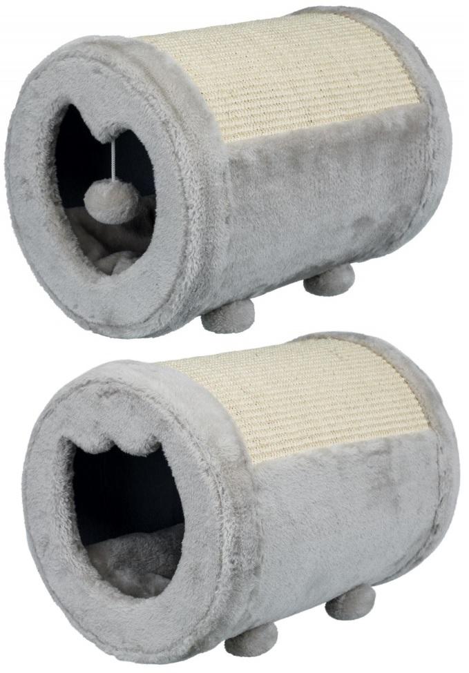 Трикси Когтеточка-домик для кошек Бочонок с игрушкой, 27*39 см, серый, Trixie