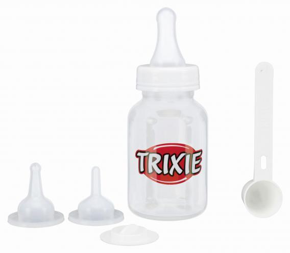 Трикси Набор для вскармливания (бутылочка, 3 мягкие соски, мерная ложка), 120 мл, Trixie
