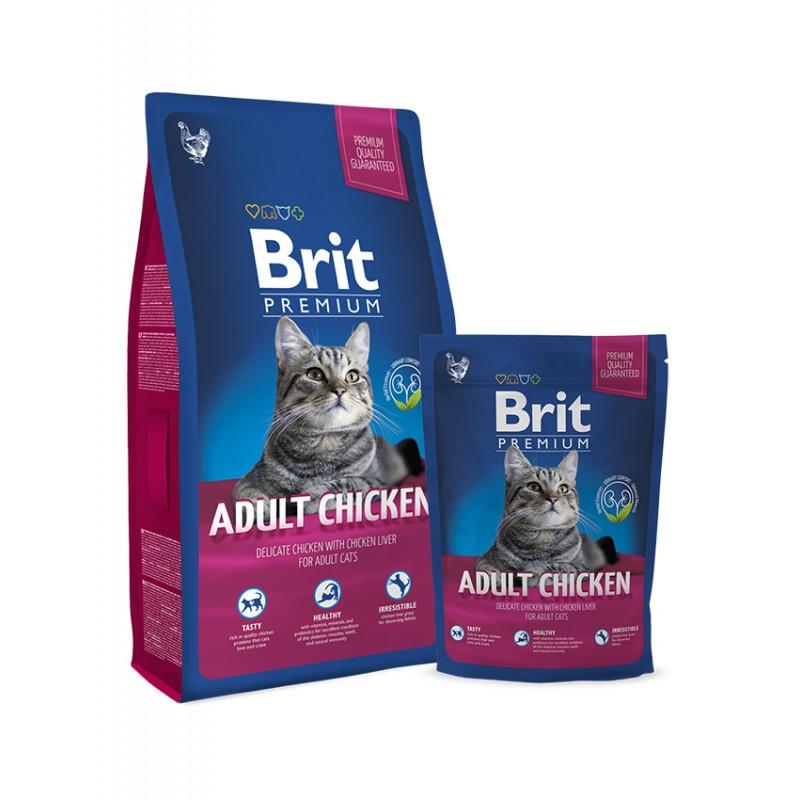Брит Корм сухой Premium Cat Adult Chicken для взрослых кошек, Курица, в ассортименте, Brit