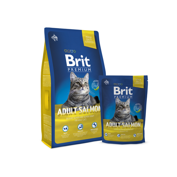 Брит Корм сухой Premium Cat Adult Salmon для взрослых кошек, Лосось, в ассортименте, Brit