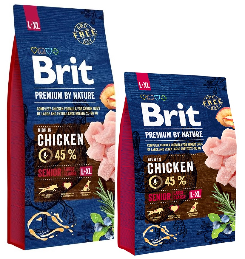 Брит Корм сухой Premium by Nature Senior L+XL для пожилых собак крупных и гигантских пород, Курица, в ассортименте, Brit