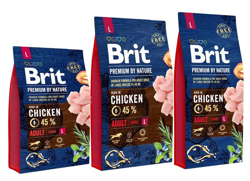 Брит Корм сухой Premium by Nature Adult L для взрослых собак крупных пород, Курица, в ассортименте, Brit