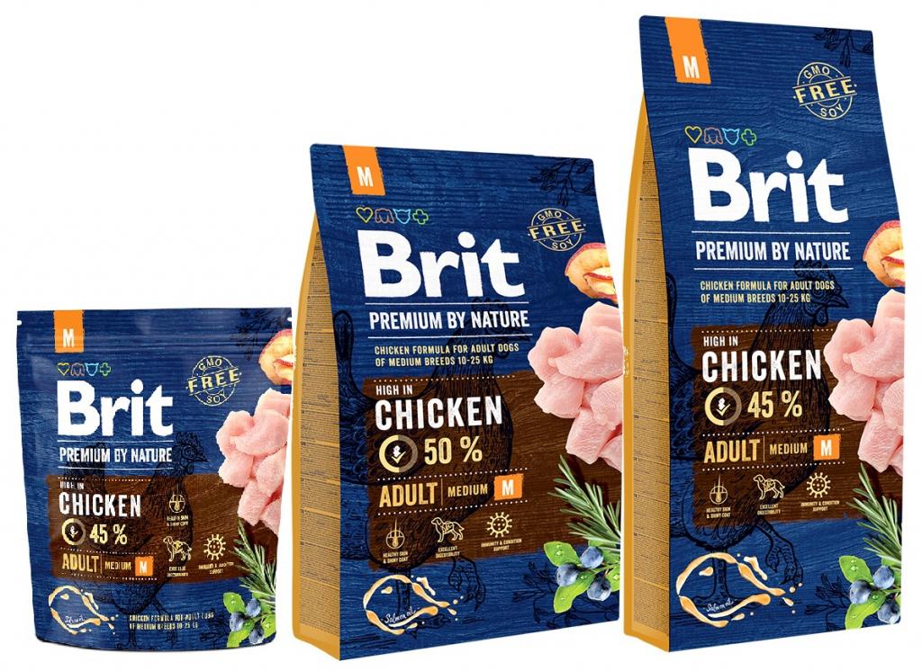 Брит Корм сухой Premium by Nature Adult M для взрослых собак средних пород, Курица, в ассортименте, Brit