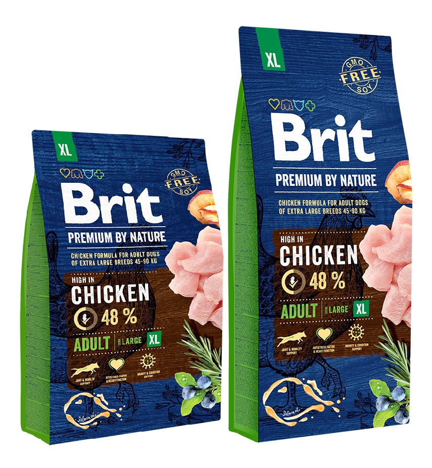 Брит Корм сухой Premium by Nature Adult XL для взрослых собак гигантских пород, Курица, в ассортименте, Brit