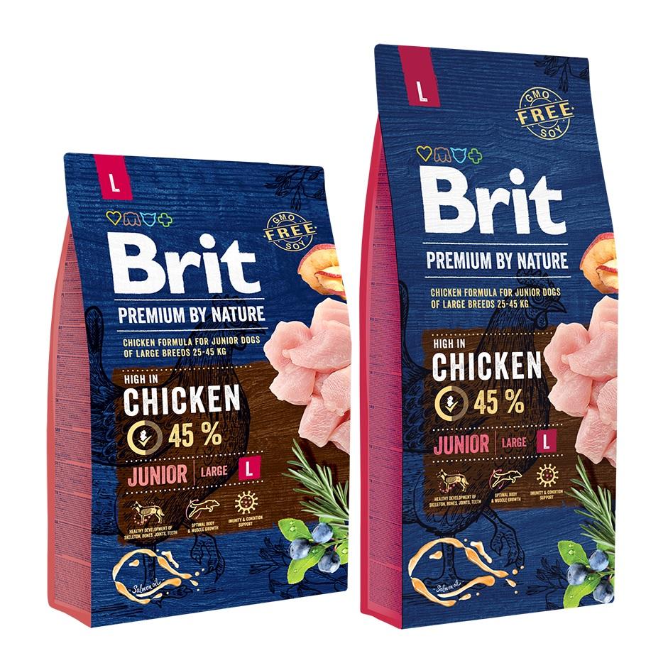 Брит Корм сухой Premium by Nature Junior L для молодых собак крупных пород, Курица, в ассортименте, Brit