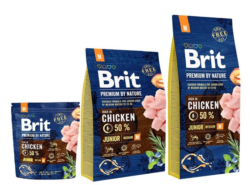 Брит Корм сухой Premium by Nature Junior M для молодых собак средних пород, Курица, в ассортименте, Brit