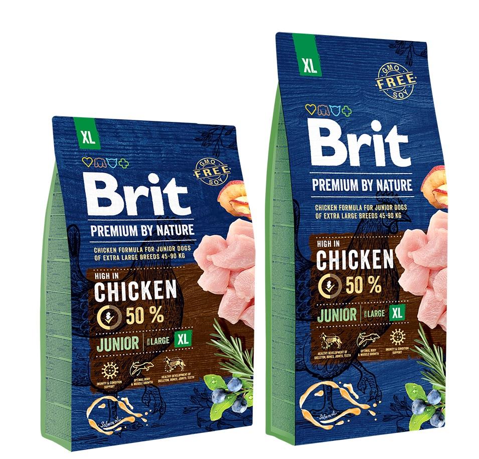 Брит Корм сухой Premium by Nature Junior XL для молодых собак гигантских пород, Курица, в ассортименте, Brit