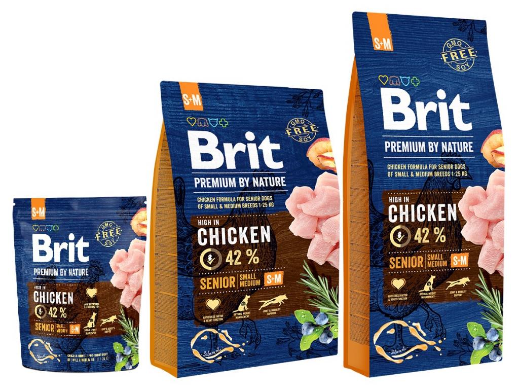 Брит Корм сухой Premium by Nature Senior S+M для пожилых собак мелких и средних пород, Курица, в ассортименте, Brit