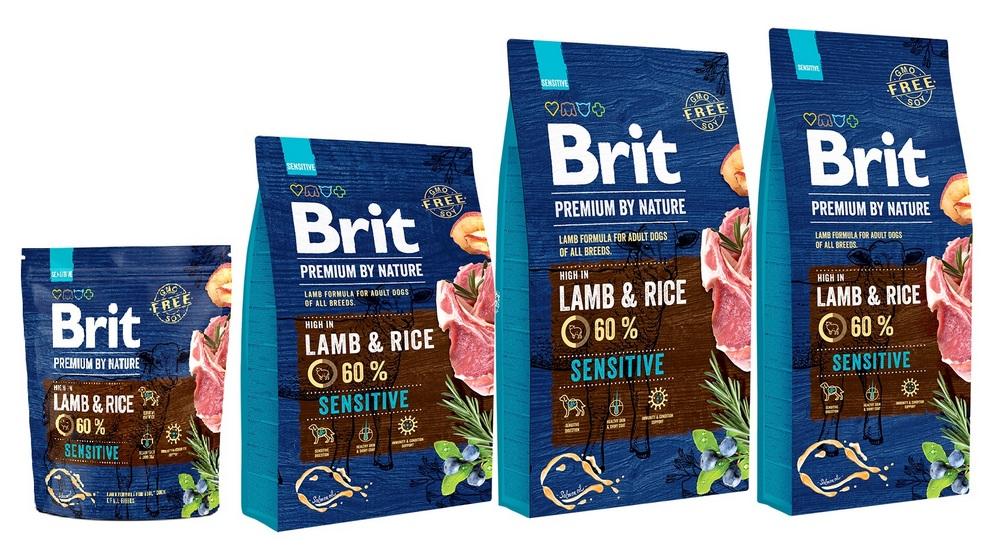 Брит Корм сухой Premium by Nature Sensitive Lamb для собак с чувствительным пищеварением, Ягненок/Рис, в ассортименте, Brit