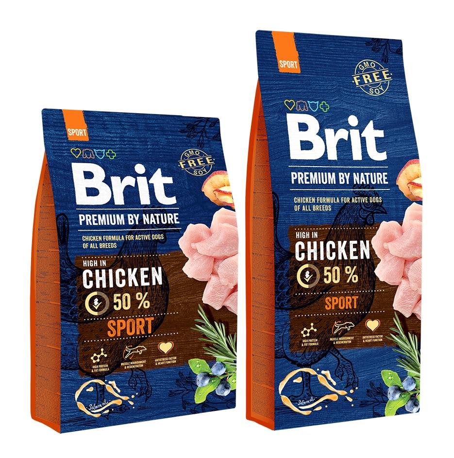 Брит Корм сухой Premium by Nature Sport для взрослых собак с высокими затратами энергии, Курица, в ассортименте, Brit