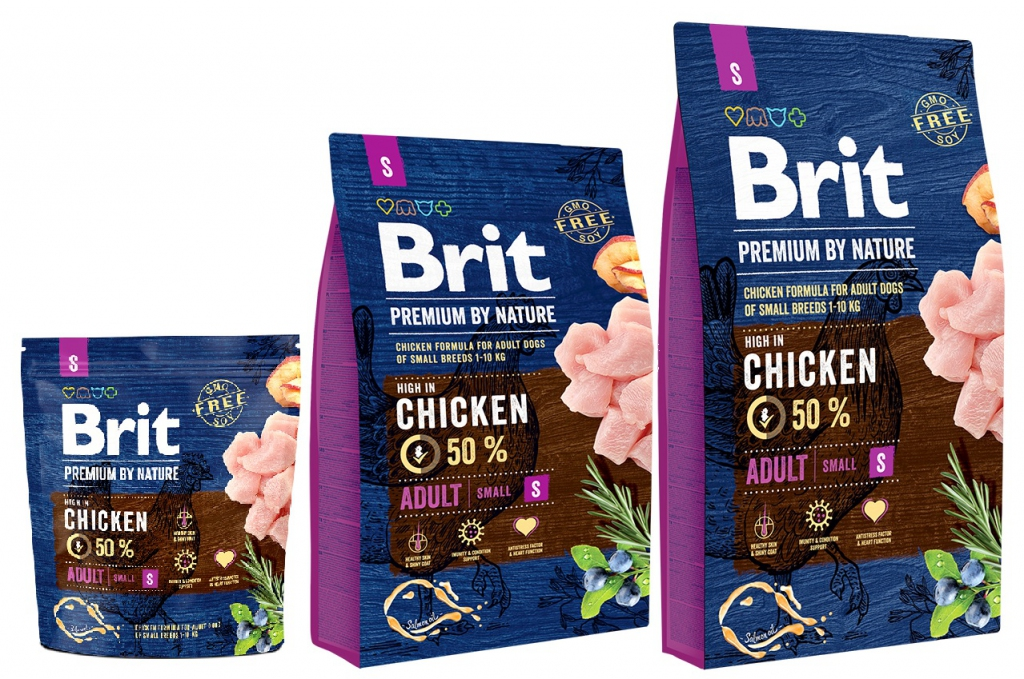 Брит Корм сухой Premium by Nature Adult S для взрослых собак мелких пород, Курица, в ассортименте, Brit