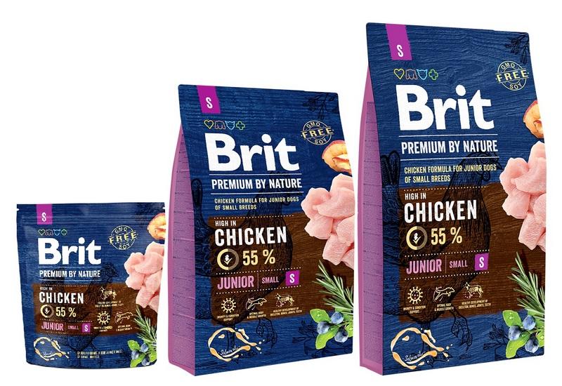 Брит Корм сухой Premium by Nature Junior S для молодых собак мелких пород, Курица, в ассортименте, Brit