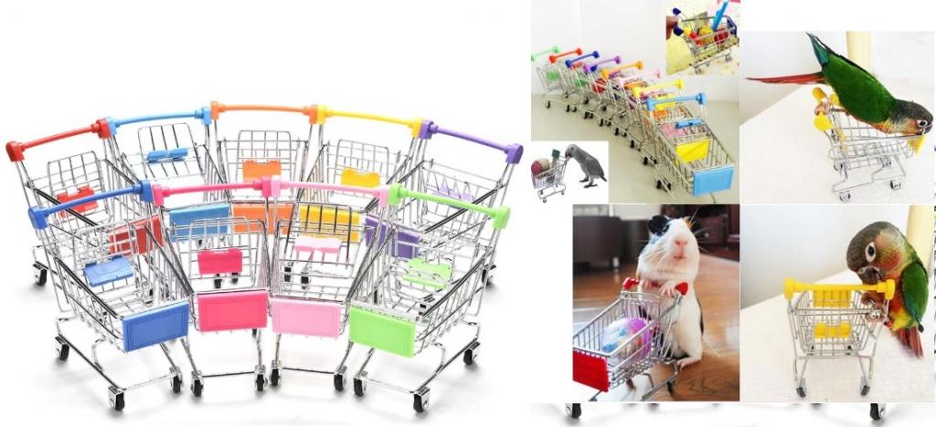 Игрушка для птиц и грызунов Тележка из супермаркета для покупок, 12*12*8 см, в ассортименте, Китай