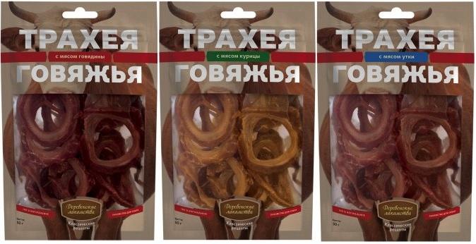 Деревенские лакомства Классические рецепты Трахея говяжья с мясом для собак всех пород, в ассортименте, 50 г