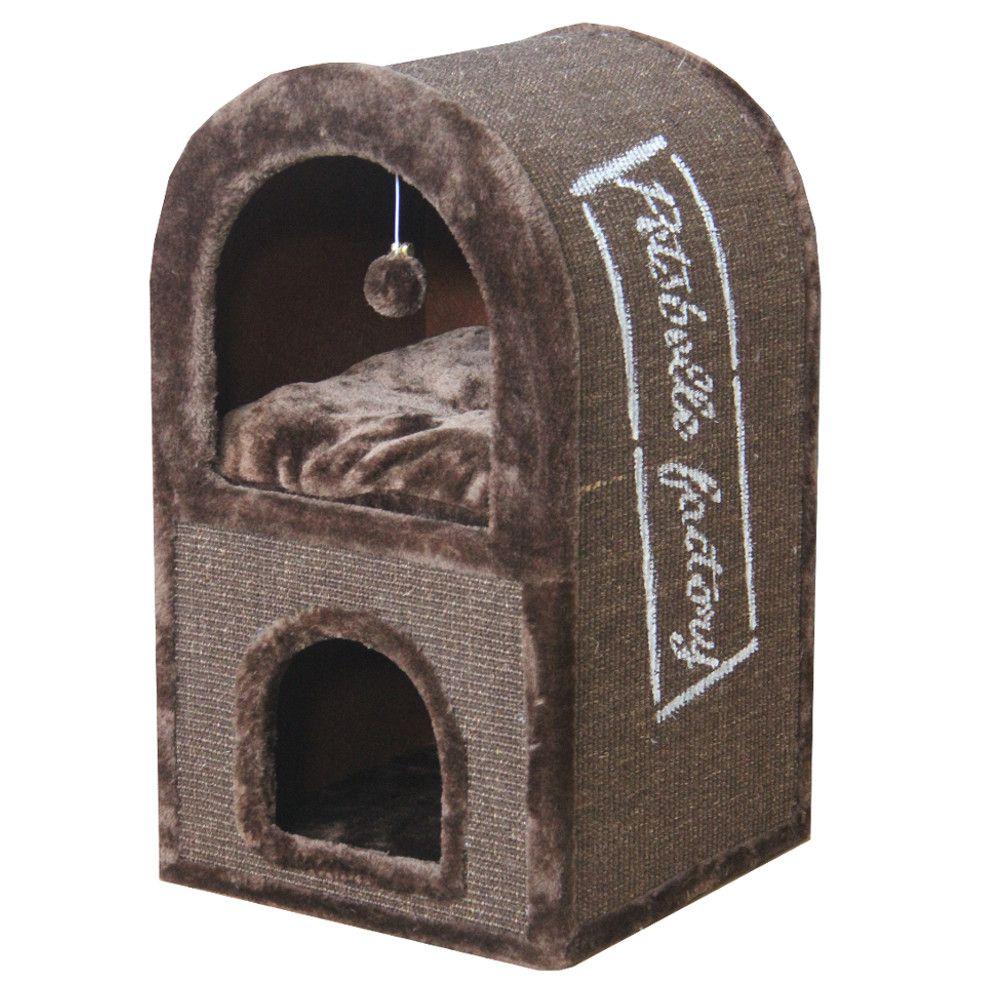ПетЧойс Игровой комплекс Когтеточка-домик двухэтажный с меховым шариком для кошек, 40*40*70 см, Pet Choice