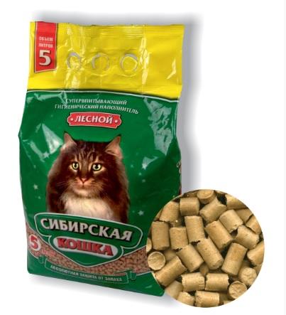 Сибирская Кошка Наполнитель древесный Лесной для кошачьих туалетов, в ассортименте