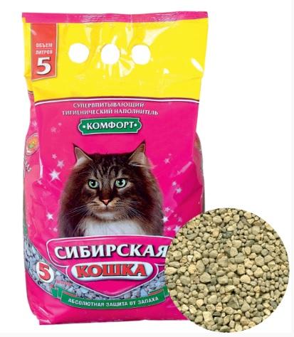 Сибирская Кошка Наполнитель Комфорт супервпитывающий для кошачьих туалетов, 5 л / 2,8 кг