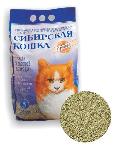 Сибирская Кошка Наполнитель Прима комкующийся бентонитовый для кошачьих туалетов, 5 л / 5 кг