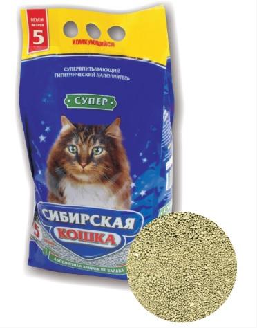Сибирская Кошка Наполнитель Супер комкующийся для кошачьих туалетов 5л/5кг