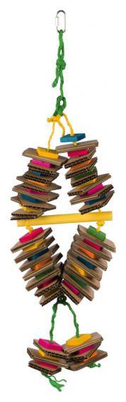 Трикси Деревянная игрушка на веревке для птиц, 18*35 см, разноцветная, Trixie