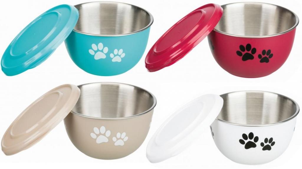 Трикси Миска стальная с крышкой Fresh Feed для собак и кошек, в ассортименте, Trixie