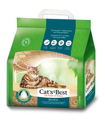 Кетс Бест Наполнитель древесный комкующийся Cat's Best Sensitive для котят и кошек, 8 л / 2,9 кг, Cat's Best