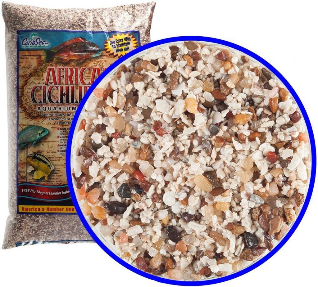 КарибСеа Аквагрунт Ivory Coast Sand природный для пресноводных аквариумов с африканскими цихлидами, смесь цветов, размер частиц 1-2,5 мм, вес 9 кг, CaribSea