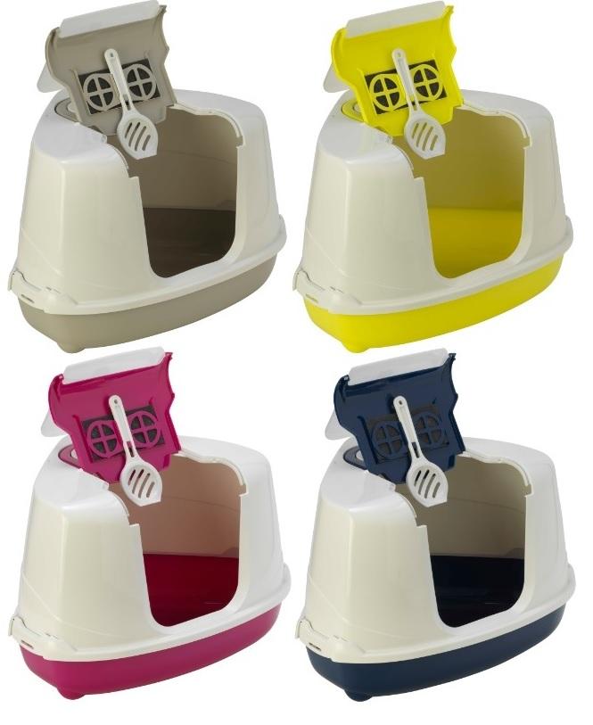 Модерна Туалет-бокс угловой Flip Corner с фильтром и совком для кошек, 55*45*38 см, в ассортименте, Moderna