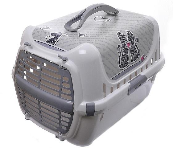 Модерна Переноска Влюбленные коты (Cats in Love) с пластиковой дверцей для кошек и собак, 49*32*30 см, серая, Moderna