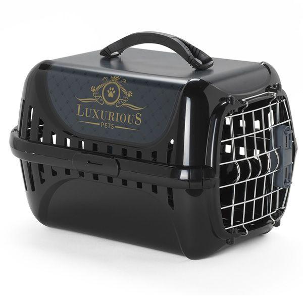 Модерна Переноска Luxurious с металлической дверцей для животных, 49*32*30 см, черная, Moderna