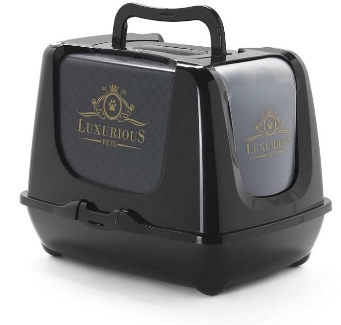 Модерна Туалет-бокс Luxurious с фильтром и совком для кошек, 50*39*37 см, черный, Moderna