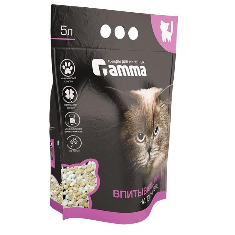 Гамма Наполнитель силикоцеолитовый впитывающий для кошачьих туалетов, 5 л, Gamma