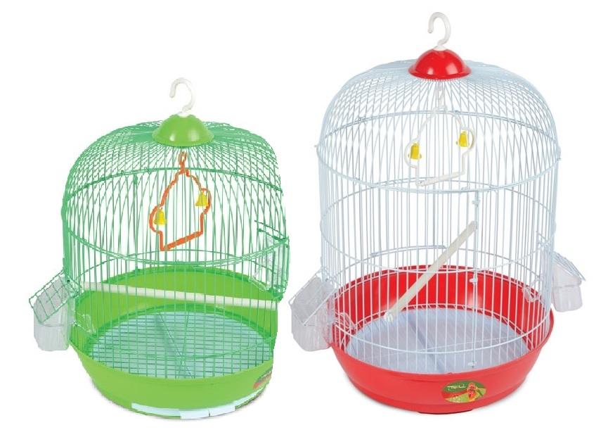Триол Круглая клетка с выдвижным лотком под решеткой для птиц,  33,5*53 см, в ассортименте, Triol
