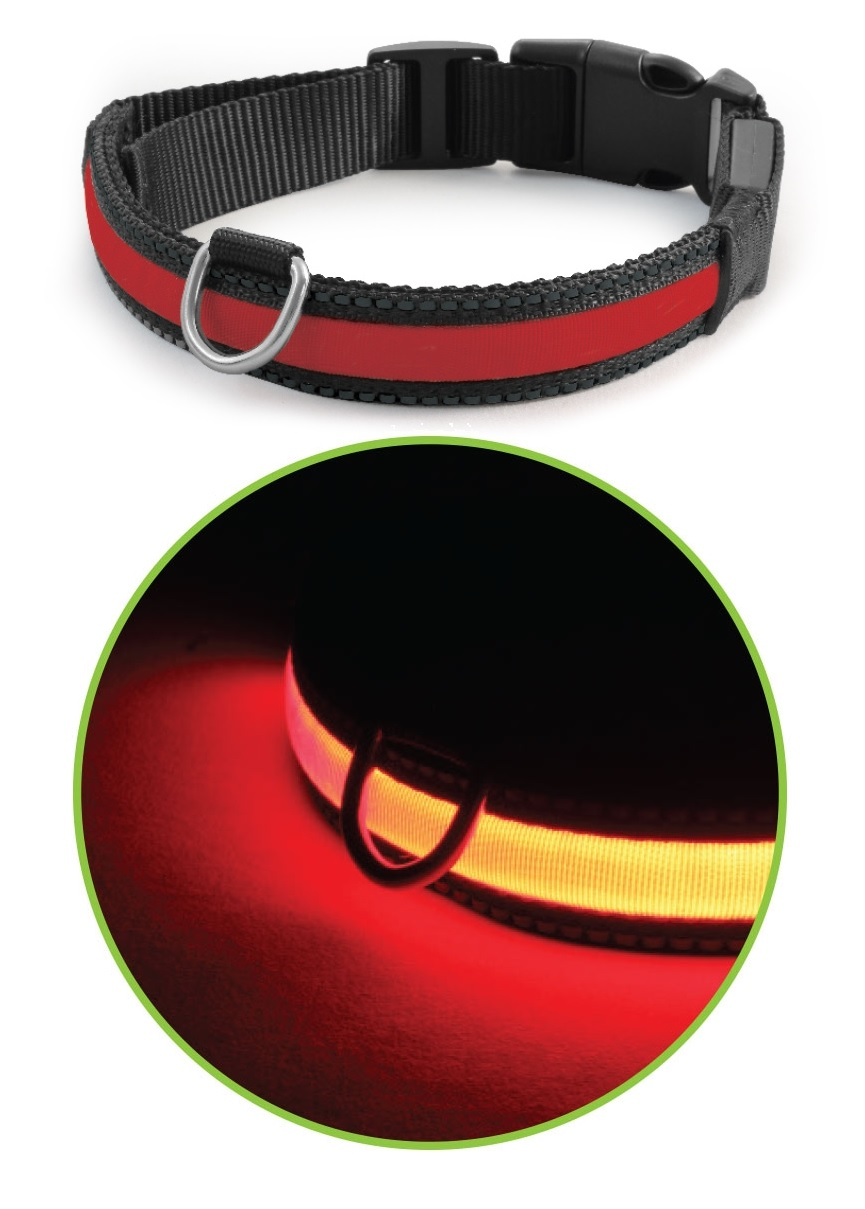 Триол Светящийся ошейник LD06 для собак, в ассортименте, красный, Triol