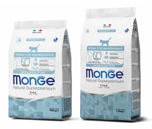 Монже Корм  Kitten Monoprotein Trout для котят, Форель, в ассортименте, Monge