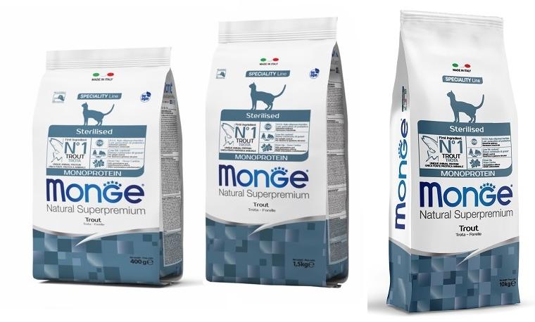 Монже Корм Cat Monoprotein Sterilised Trout для стерилизованных кошек, Форель, в ассортименте, Monge