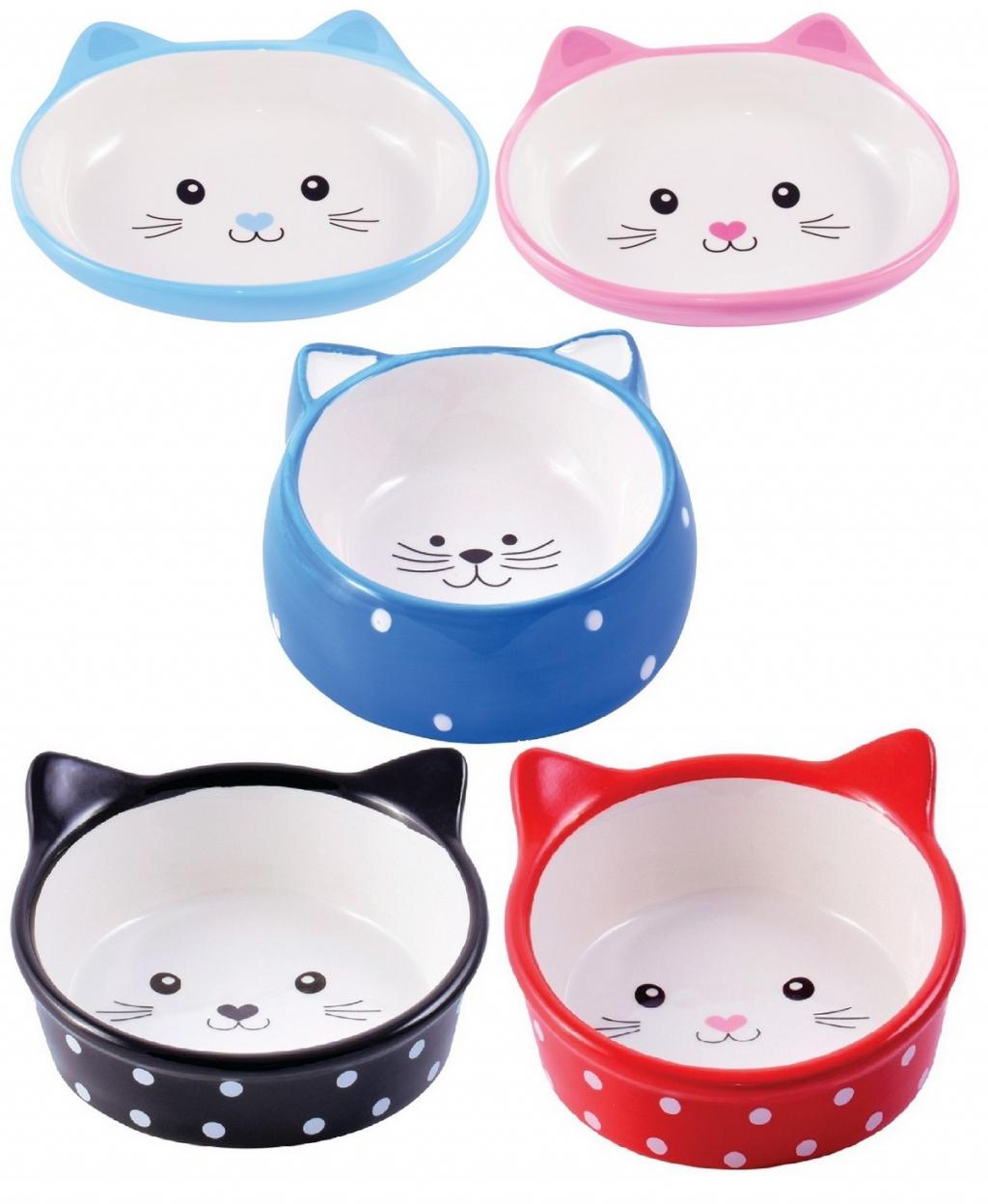 КерамикАрт Миска керамическая Мордочка кошки с ушками для кошек, в ассортименте