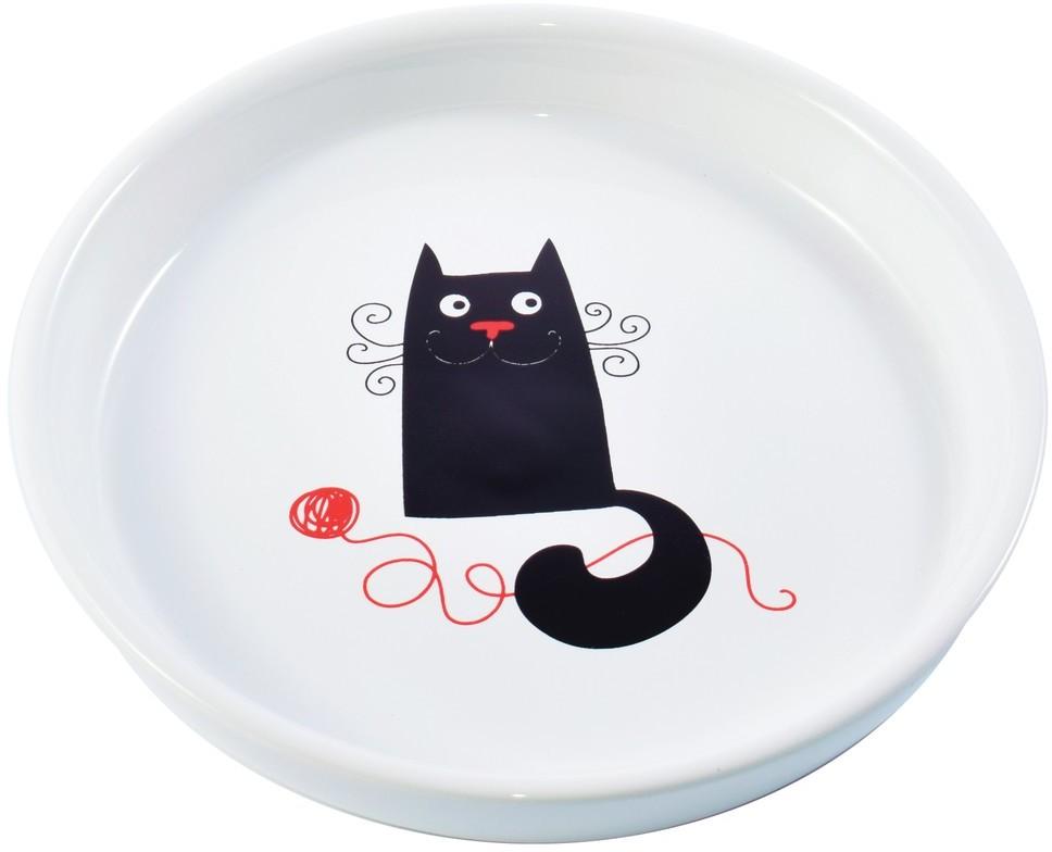 КерамикАрт Миска керамическая для кошек короткомордых пород, 210 мл, белая с рисунком Кошка и клубок