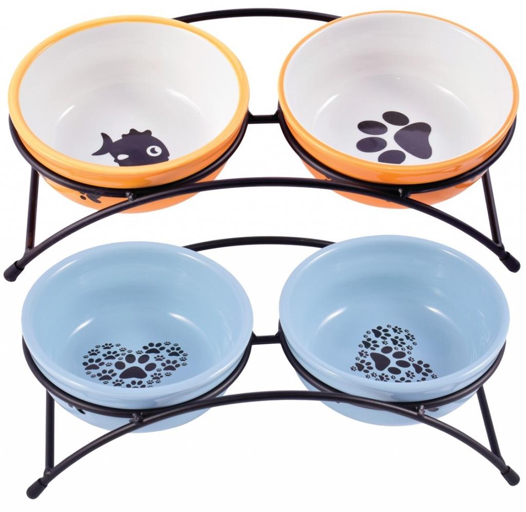 КерамикАрт Миски керамические на металлической подставке для собак и кошек, в ассортименте, 2*290 мл