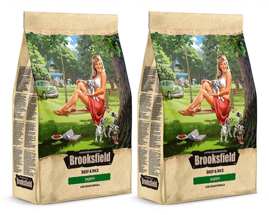 Бруксфилд Корм сухой низкозерновой Puppy для щенков, Говядина/Рис, в ассортименте, Brooksfield