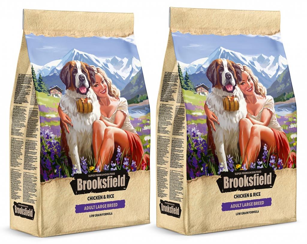 Бруксфилд Корм сухой низкозерновой Adult Dog Large Breed для взрослых собак крупных пород, Курица/Рис, в ассортименте, Brooksfield